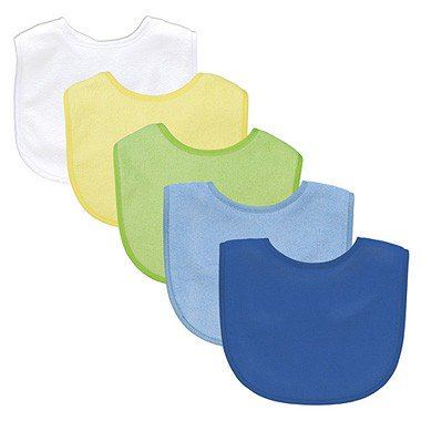 Green Sprouts Organic Terry - Green Sprouts Basic Waterproof Absorbent Terry Bib 5 Pack - Boy