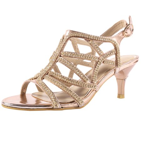 Womens Rhinestone Heel Wedding Sandals Evening Dress Prom Shoes Silver Gold
