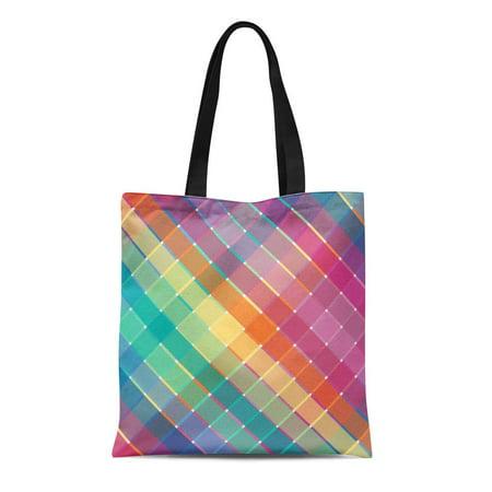 Rainbow Horses Tote (LADDKE Canvas Tote Bag Blue Squares Colorful Rainbow Plaid Stripes Green Retro Pretty Reusable Handbag Shoulder Grocery Shopping Bags)