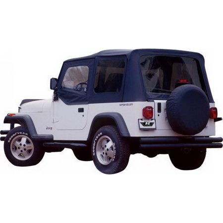 (Rampage 68215 Denim Black Complete Replacement Soft Top with Frame and Hardware)