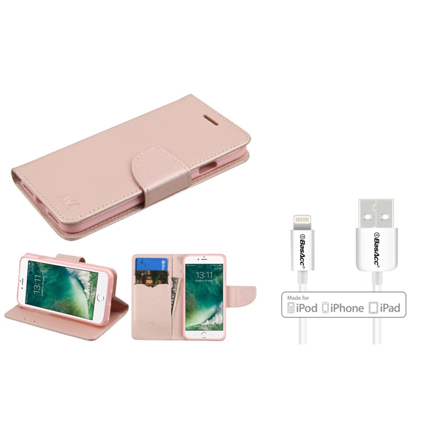 Insten Leather Wallet Stand Case with card slot - Rose Gold (+ 6' Long Apple Lightning Cable)