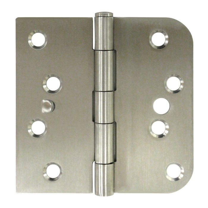"Deltana SS44058TA-RH 4"" x 4"" Right Handed Stainless Steel Square Corner by 5/8"" Radius Corner Plain Bearing Mortise Hinge - Pair"