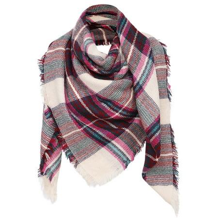 Womens Ultra Soft Plaid Blanket Wrap Scarf Shawl  Pink