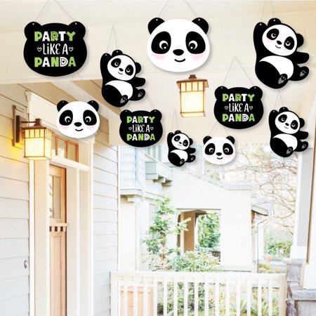Hanging Party Like a Panda Bear - Outdoor Hanging Decor - Baby Shower or Birthday Party Decorations-10 Ct - Panda Party Decorations