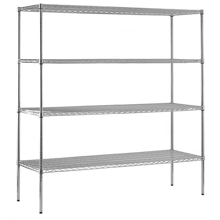 Muscle Rack 74u0022H 4-Tier Wire Shelving Unit, 2400 lb Capacity, Chrome