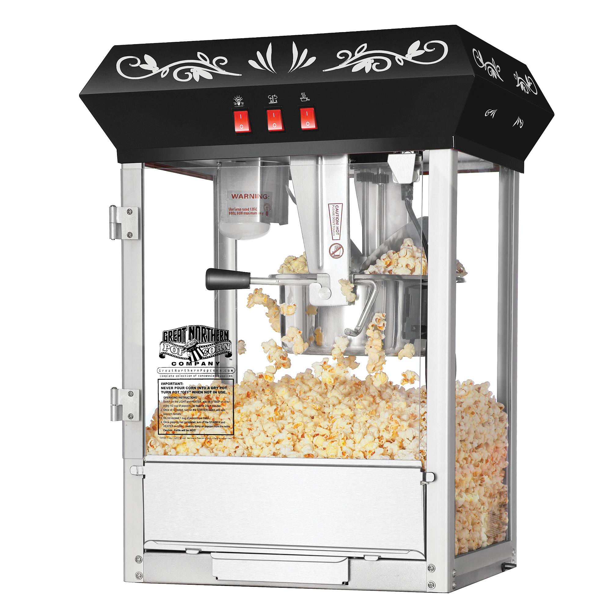 Great Northern Popcorn Black Foundation Popcorn Popper Machine, 8 Ounce