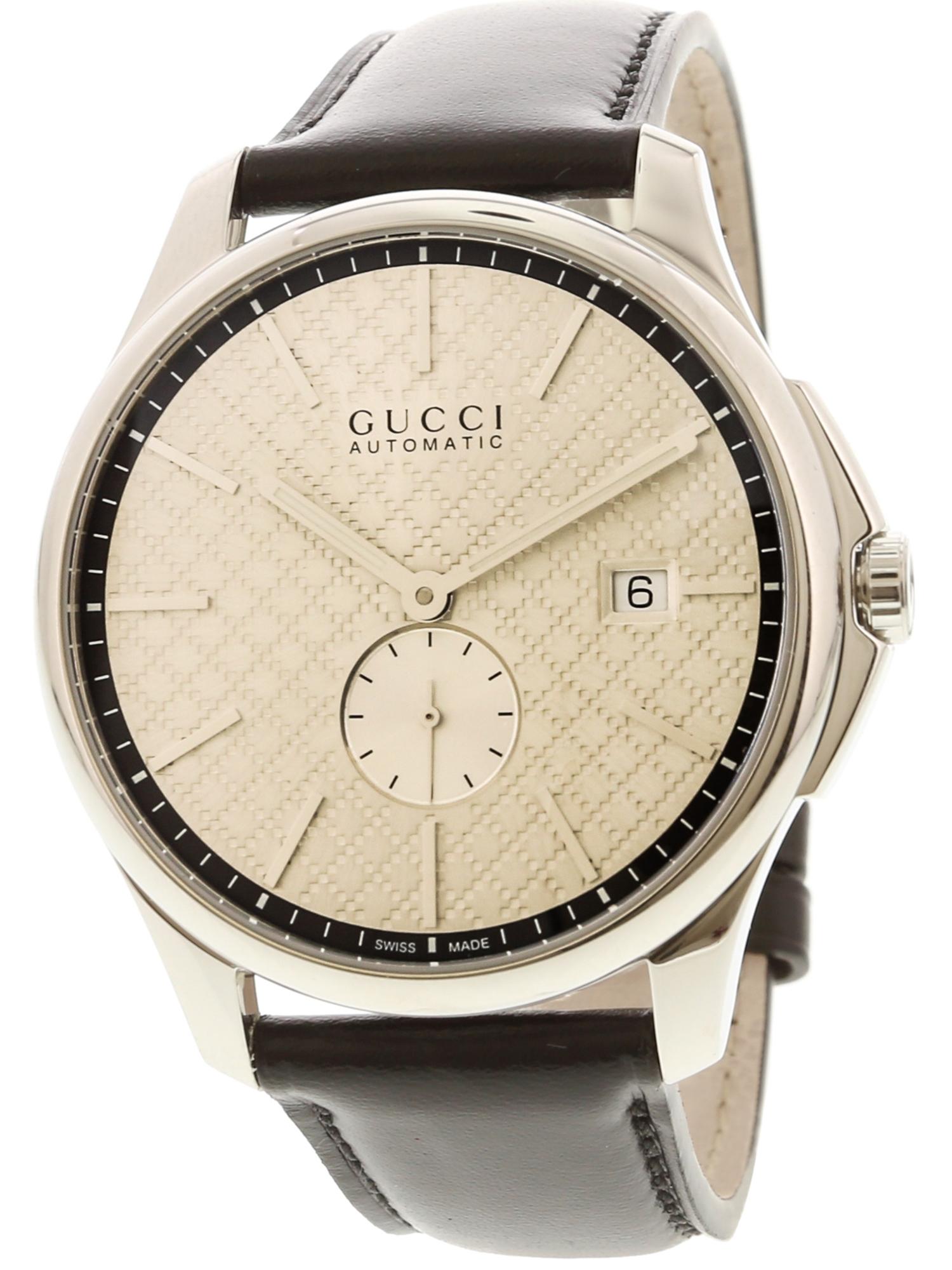 Gucci Men's G-Timeless YA126313 Silver / Black Leather Swiss Automatic Dress Watch