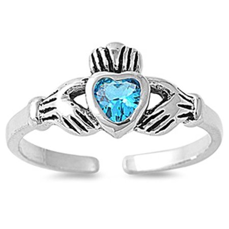 Heart Solitaire Claddagh Blue Simulated Topaz .925 Sterling Silver Toe Ring