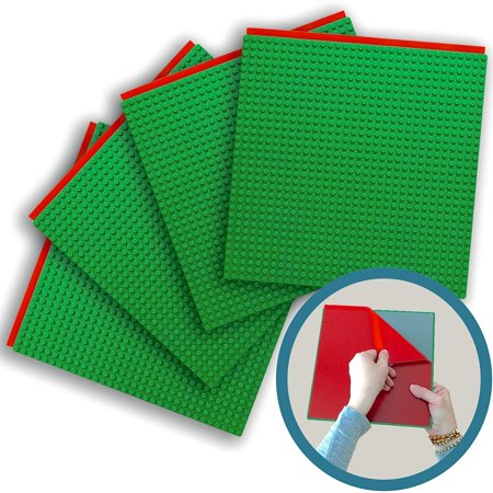 - Peel-and-Stick Baseplates - Self Adhesive Building Brick Plates - Compatible with All Major Brands - 4 Pack - Green - 10 inch x 10 inch - By Creative QT