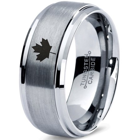 Tungsten Canadian Maple Leaf Band Ring 8mm Men Women Comfort Fit Gray Step Bevel Edge Brushed Polished