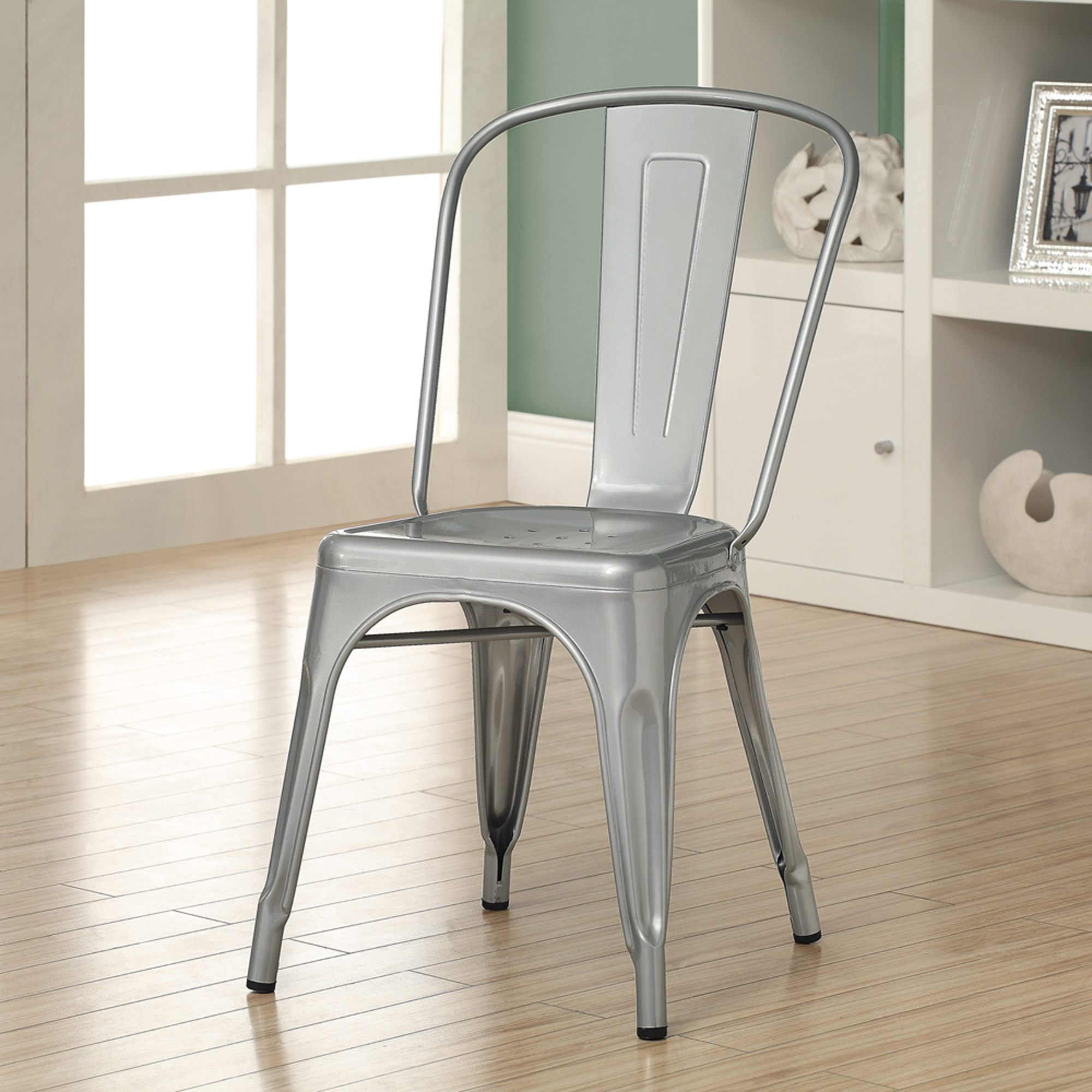 "Silver Galvanized Metal 33""H Cafe Chair Set of 2 Walmart"