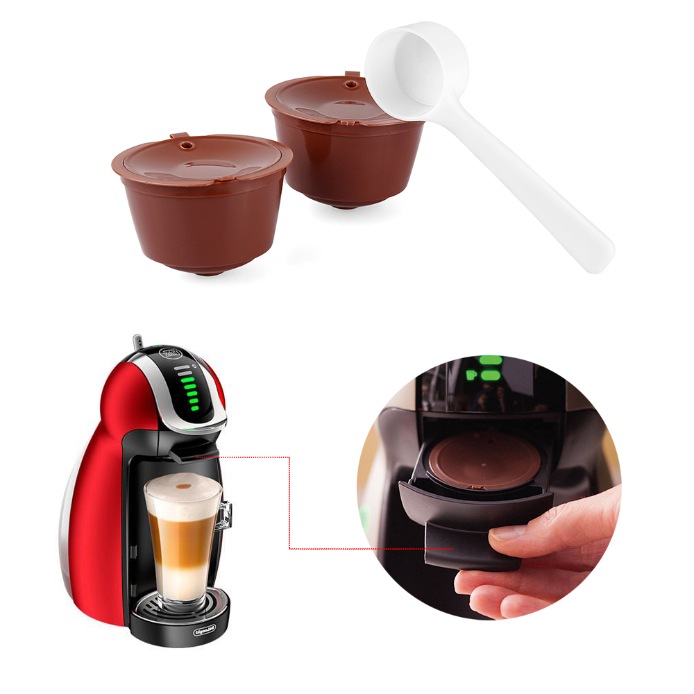 2pcs Reusable Coffee Capsules Refillable Dolce Gusto Coffee Filters Compatible with Nescafe Genio Piccolo... by