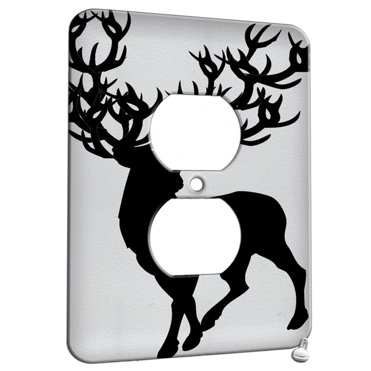 Deer Antler Painting Art Design 1 Gang Duplex Outlet Wall Plate Metal Walmart Com Walmart Com