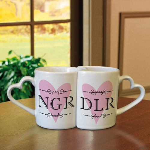 Personalized Interlocking Heart Mugs, Initials