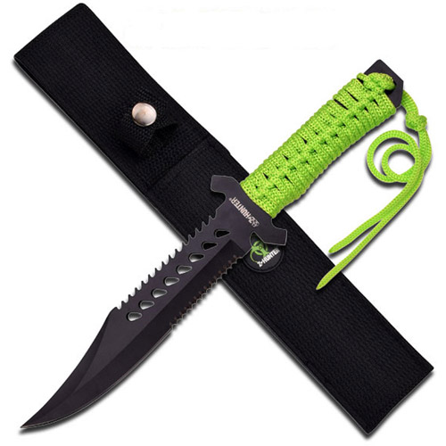 """Z-Hunter 11.5"""" Fixed-Blade Knife with Green Cord Wrap Handle"""