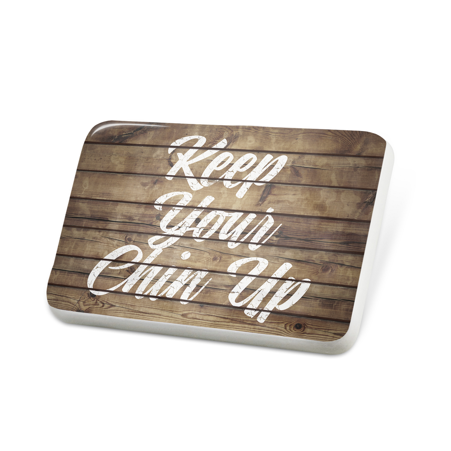 Porcelein Pin Painted Wood Keep Your Chin Up Lapel Badge – NEONBLOND