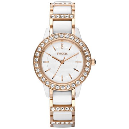 Fossil Women's Jesse CE1041 White Ceramic Analog Quartz Fashion Watch
