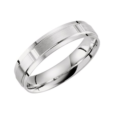 - 10k White Gold Size 10 5mm Polished Light Weight Patterned Band Ring - 4.5 Grams