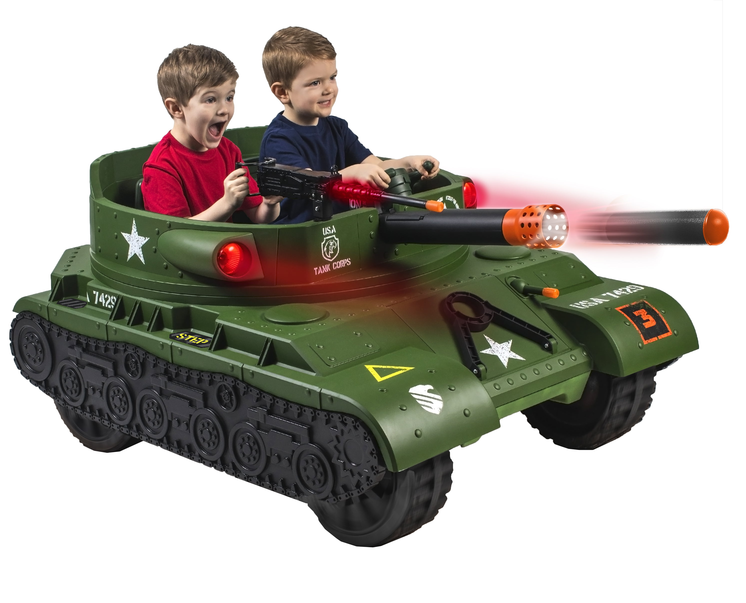 New WALMART EXCLUSIVE 24 Volt Thunder Tank Ride-On With Working Cannon and Rotating Turret! by Ballard Pacific Resources