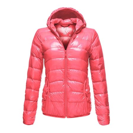 Luna Flower Women's Long Sleeve Lightweight Woven Puffer Zip-Up Hoodie Jacket with Pockets CORAL Small (Columbia Womens Coral)