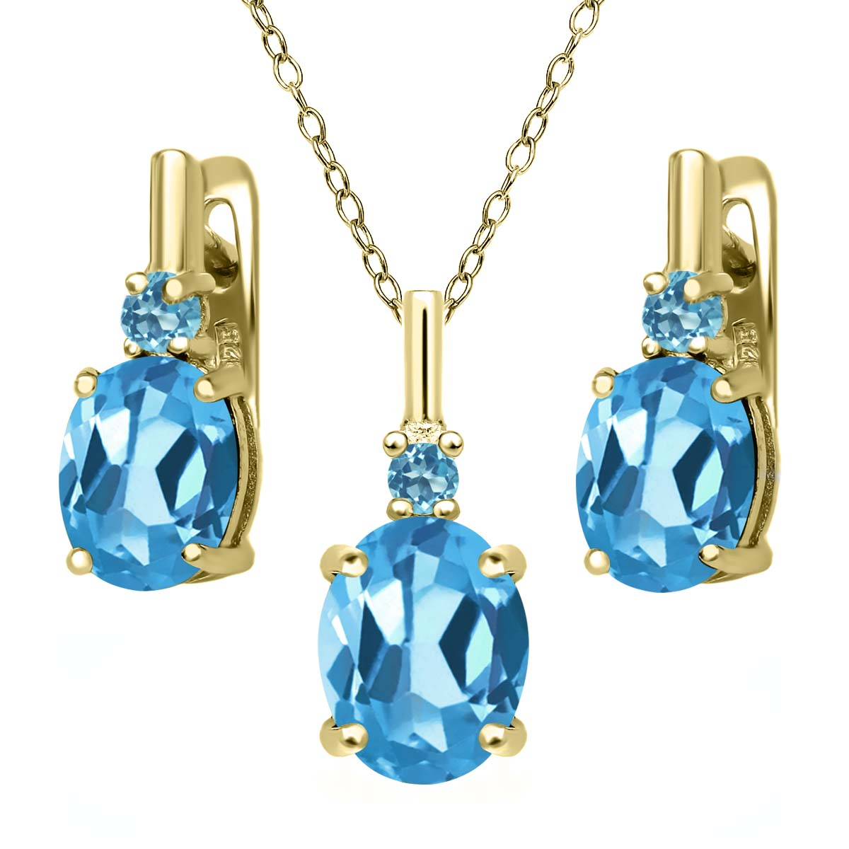 6.68 Ct Swiss Blue Topaz and Simulated Topaz 18K Gold Plated Silver Jewelry Set by