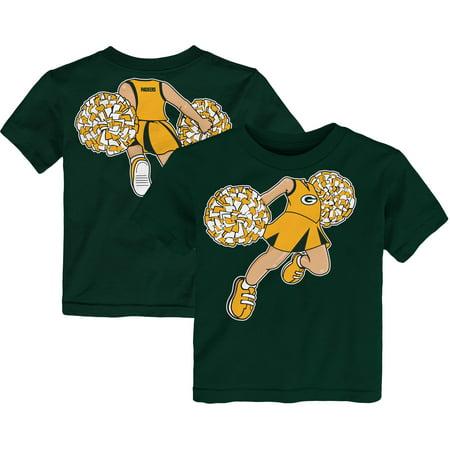 Green Bay Packers Girls Toddler Pom Pom Cheer T-Shirt - Green (Packers Shirt Girls)