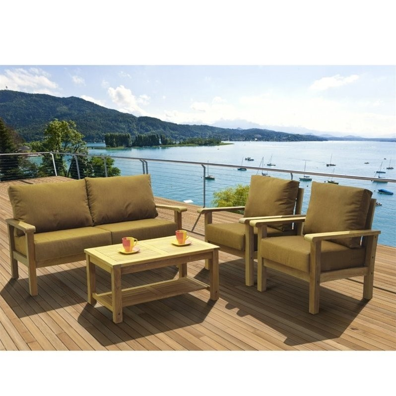 Int Home Miami Corp Gilli 4 pc Patio Seating Set in Teak