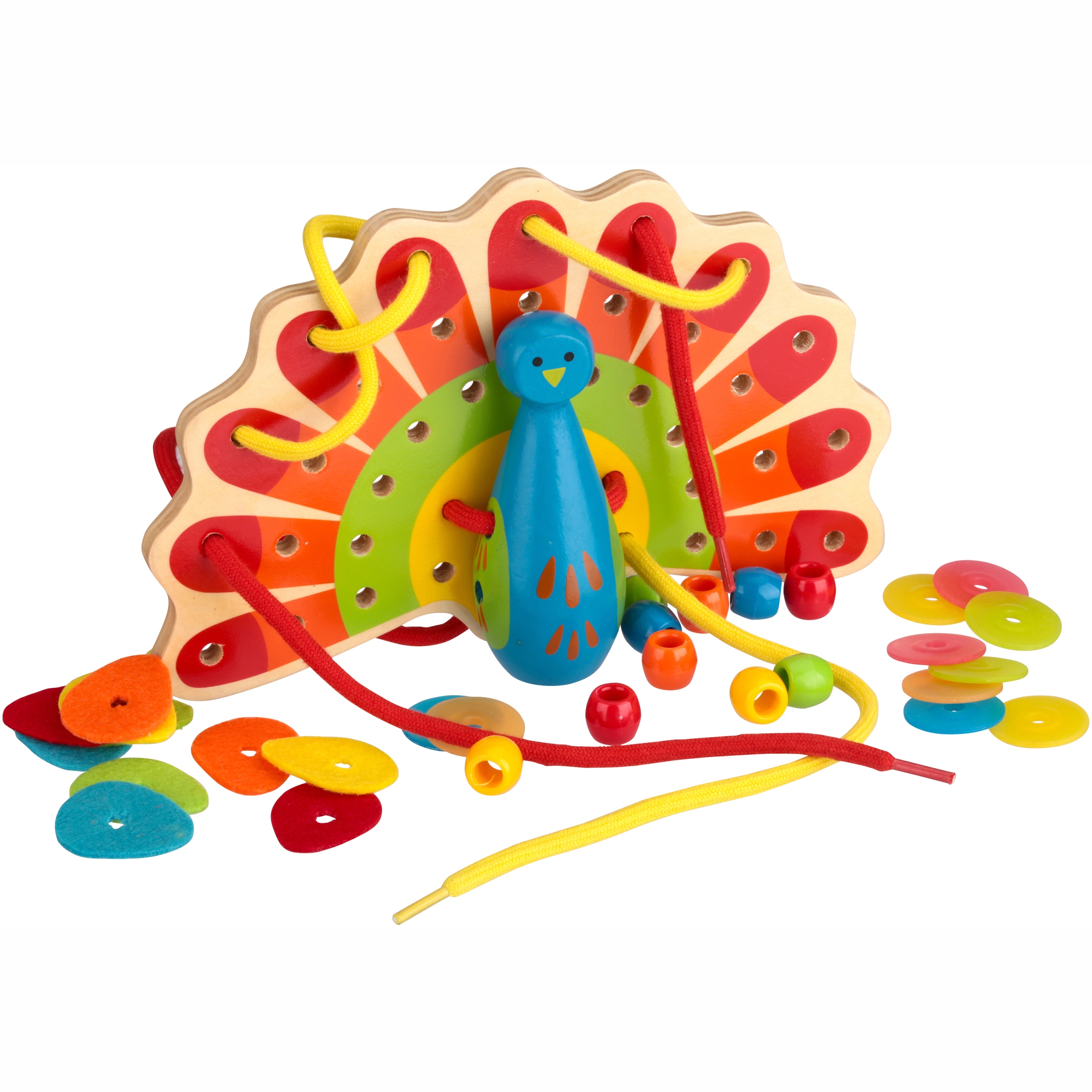 Hape Lacing Peacock Toy 34 pc Box