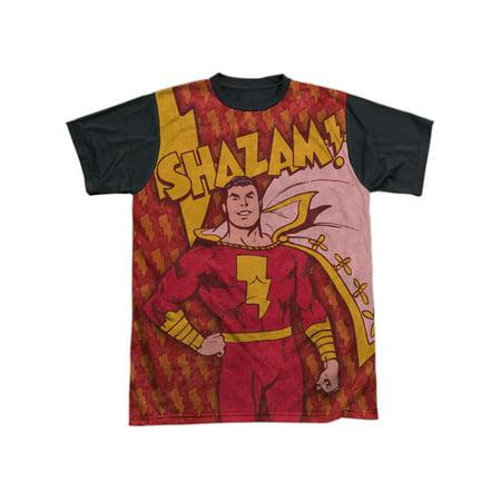 0df53e01e DC Comics Captain Marvel Shazam! Bolts Pattern Adult Black Back T-Shirt Tee  - Walmart.com