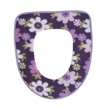Bathroom Surface Plush Faux Leather Floral Print Toilet