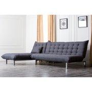 Abbyson Living Bedford Gray Linen Convertible Sectional Sofa