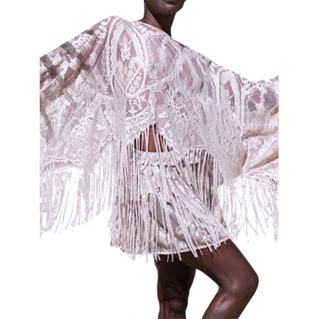 Women Cover Ups Swimsuit Lace Tassel Sheer Mesh Wrap Skirt+Beach Smock Tops 2PCS Set Swimwear Hollow Out Crochet Sarong Pareo Dress - Cool Dress Ups