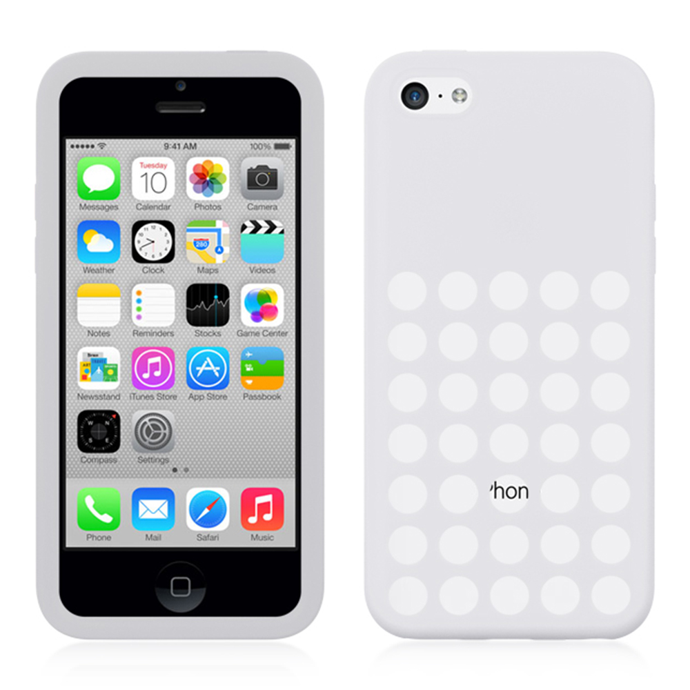 White Dotted Silicone Skin Case Cover for iPhone 5C