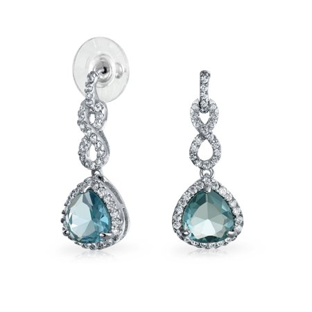 - 4CT Aqua Blue Teardrop Infinity Knot Pave CZ Prom Statement Dangle Earrings Simulated Aquamarine Silver Plated Brass