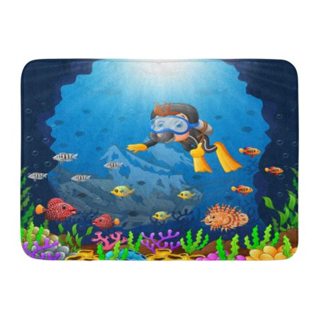godpok snorkeling blue water cartoon diver under the sea fish animal rug doormat bath mat 23. Black Bedroom Furniture Sets. Home Design Ideas