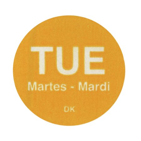 Daymark Tuesday Labels Yellow Tri-Lingual Rotation Colored Dot Labels - 3/4 Dia 1000 Per Roll