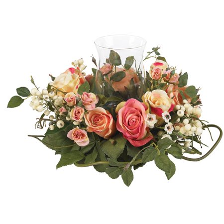 Rose Candleabrum Silk Flower Arrangement, Assorted Pastel