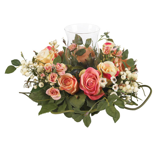Rose Candleabrum Silk Flower Arrangement, Assorted Pastel