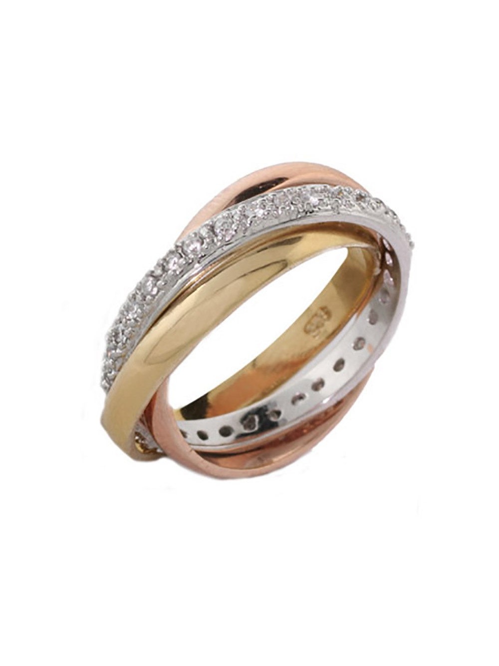 Russian Silver Wedding Three Band Ring