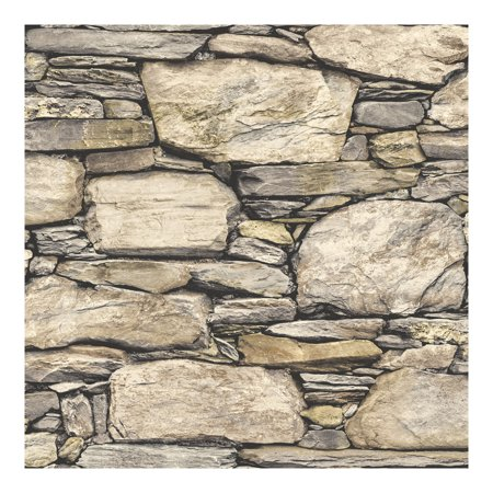 NuWallpaper Hadrian Stone Wall Peel & Stick Wallpaper - Suicide Wallpaper
