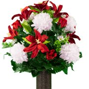 Sympathy Silks Artificial Cemetery Flowers  Realistic, Outdoor Grave Decorations - Non-Bleed Colors, and Easy Fit -White Mum and Red Lily Bouquet