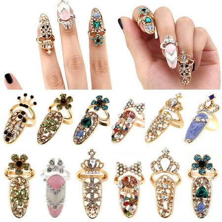 (Toponeto) Women Fashion Bowknot Nail Ring Charm Crown Flower Crystal Finger Nail Rings Woven Crystal Beaded Ring