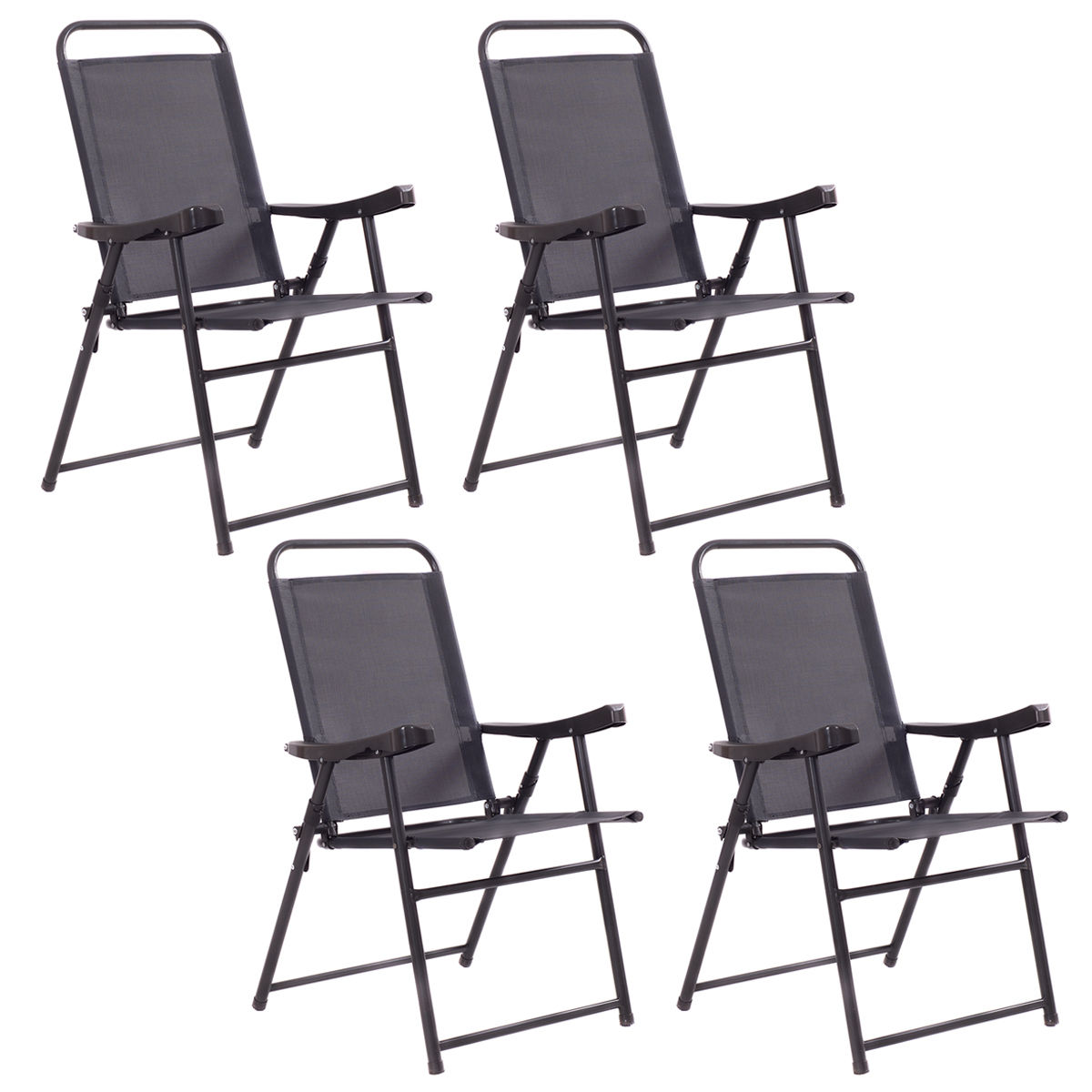 Costway Set Of 4 Folding Sling Chairs Patio Furniture