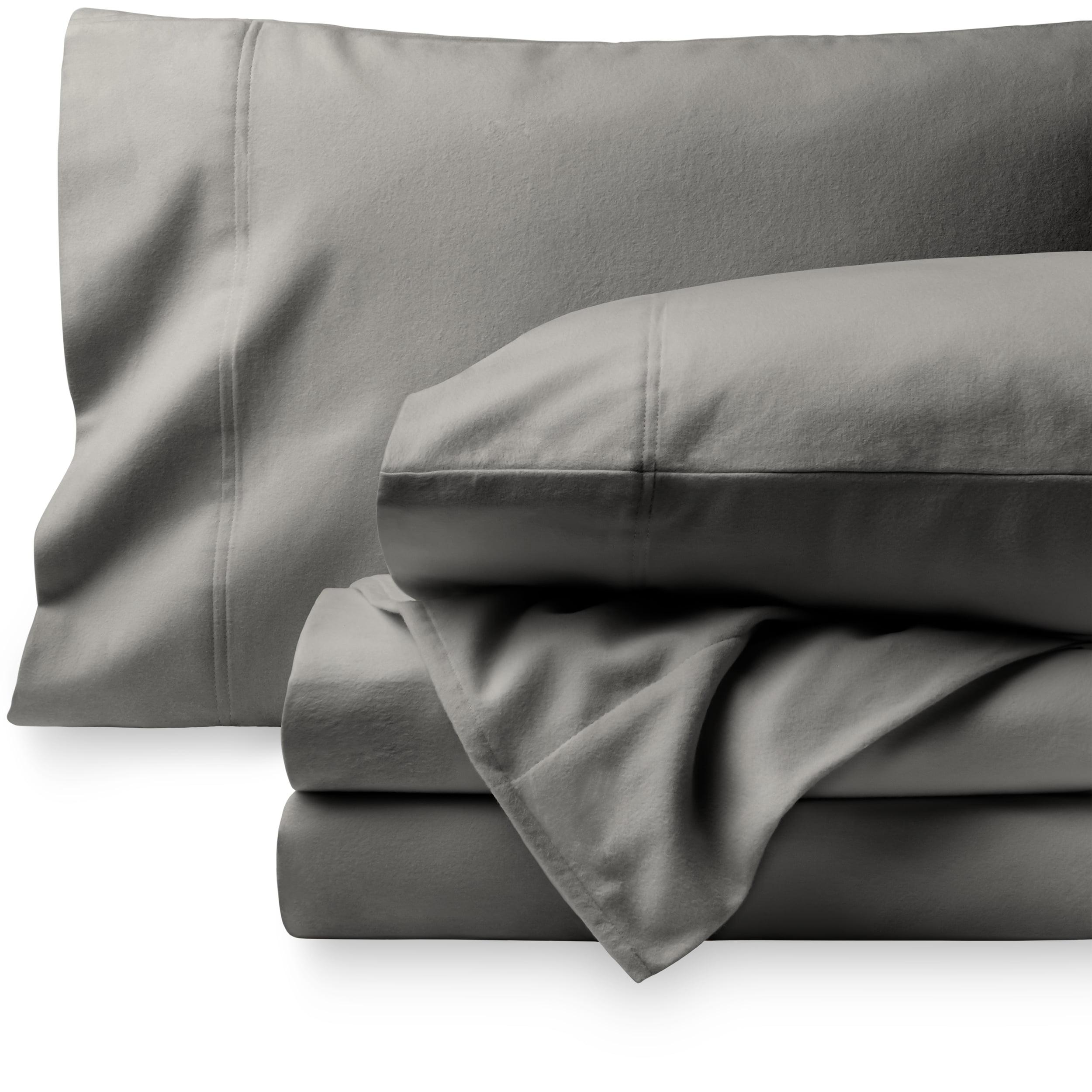 Flannel Sheet Set KING Size 4 Piece 100/% Cotton Heavy Deep Pocket  Gray Blue