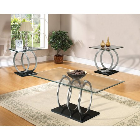 Home Source Cirque Cocktail Table with Rectangle Glass Top and Triple Sphere Base
