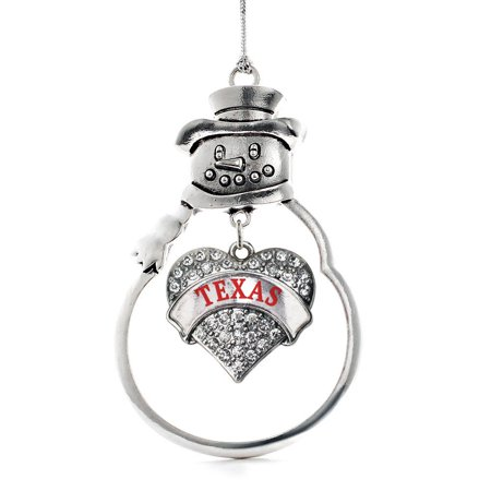 Texas Pave Heart Snowman Holiday Ornament](Texas Snowman)