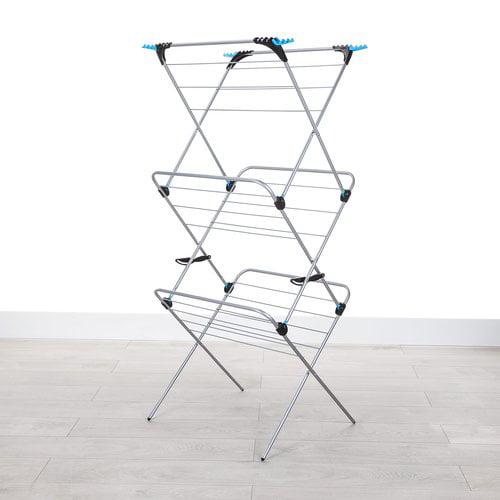 Minky Homecare Three Tier Trio Concertina Plus Indoor Drying Rack in Silver
