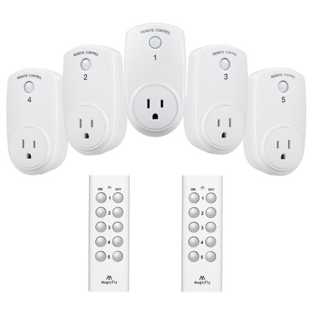 Magicfly Wireless Remote Control Outlet Light Switch 100 Feet Range For Lamps Lights And Strips 2 5 Outlets