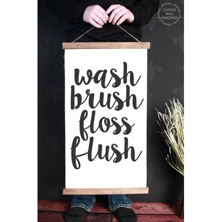 Bathroom Canvas (Wood Canvas Sign Wall Hanging, Wash Brush Bathroom Wall Art Print 15x26-Inch )