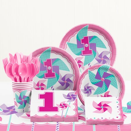 Turning One Girl 1st Birthday Party Supplies Kit - First Birthday Party Ideas Girl